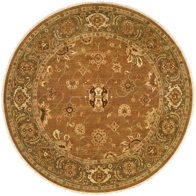 Hand-Knotted Brown Area Rug Rug Size: Round 8