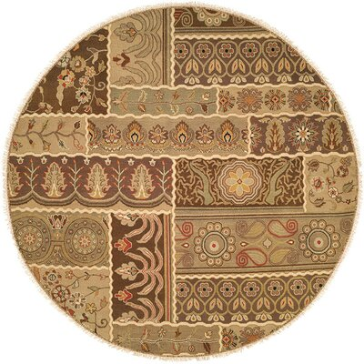 Massawa Hand-Woven Brown/Green Area Rug Rug Size: Round 6
