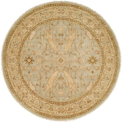 Williamshile Hand-Knotted Light Blue/Beige Area Rug Rug Size: Round 6