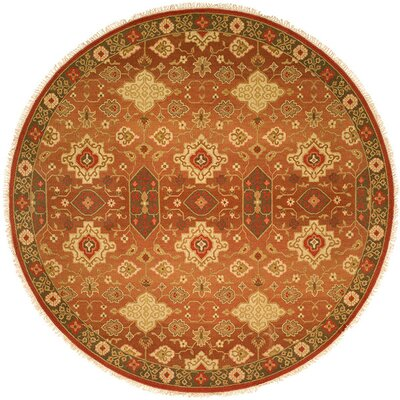 San Diego Hand-Woven Rust/Ivory Area Rug Rug Size: Round 6