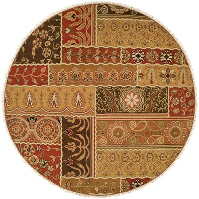 Sudan Hand-Woven Brown/Red Area Rug Rug Size: Round 6