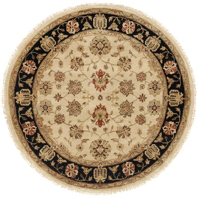 Vladivostok Hand-Knotted Ivory/Brown Area Rug Rug Size: Rectangle 9 x 12