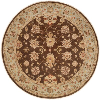Sacramento Hand-Knotted Brown/Blue Area Rug Rug Size: Round 6