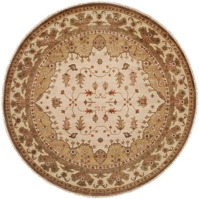 Melbourne Hand-Knotted Beige Area Rug Rug Size: Round 10
