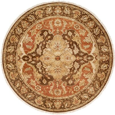 Busan Hand-Knotted Brown/Ivory Area Rug Rug Size: Round 6