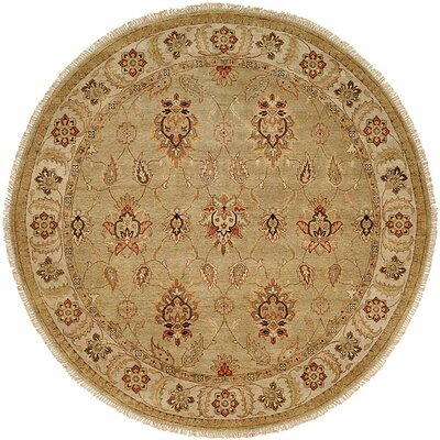 Jubail Hand-Knotted Green/Ivory Area Rug Rug Size: Round 6