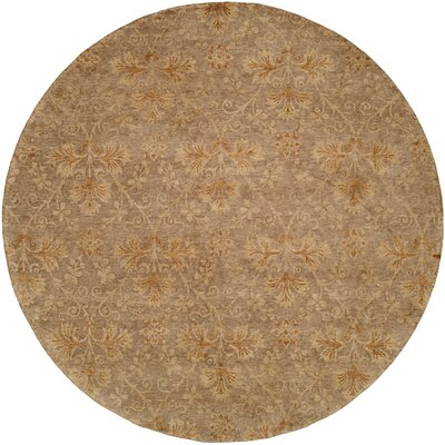 Dongying Hand-Knotted Brown Area Rug Rug Size: Round 6
