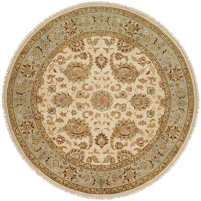 Rason Hand-Knotted Ivory/Light Blue Area Rug Rug Size: Round 6