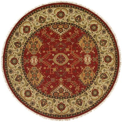 Khalifa Hand-Woven Red/Ivory Area Rug Rug Size: Round 6
