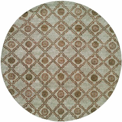 Laem Hand-Knotted Light Blue Area Rug Rug Size: Round 8