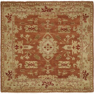 Longview Hand-Knotted Orange/Brown Area Rug Rug Size: Square 6