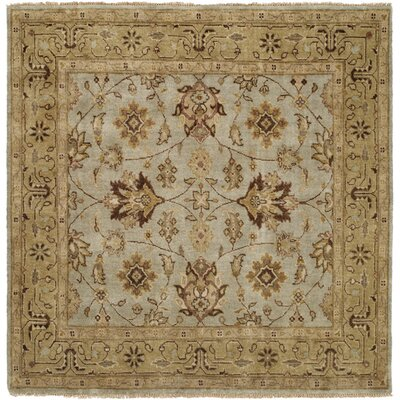 Piso Hand-Knotted Blue/Brown Area Rug Rug Size: Round 6