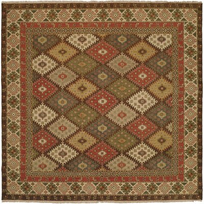 Qasr Hand-Woven Red/Brown Area Rug Rug Size: Square 6