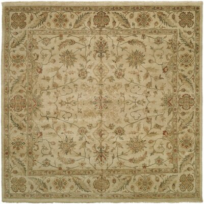 Dubai Hand-Knotted Beige Area Rug Rug Size: Square 10