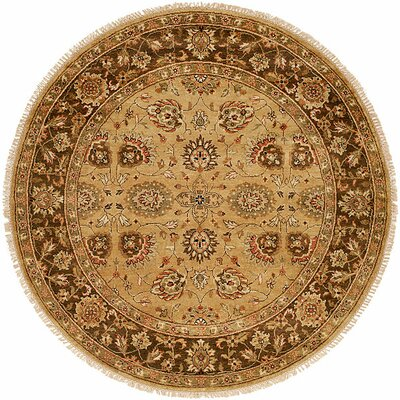 La Paz Hand-Knotted Brown Area Rug Rug Size: Round 8