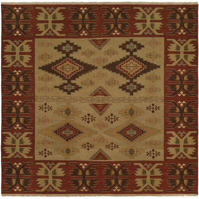 Yingkou Hand-Woven Brown/Red Area Rug Rug Size: Square 10