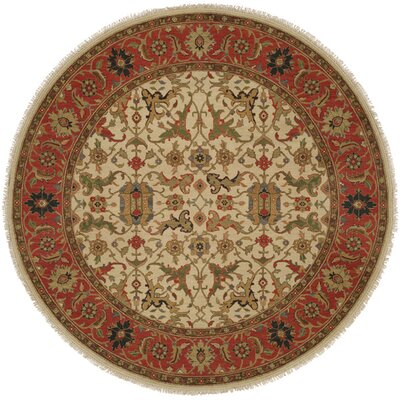 Peru Hand-Woven Ivory/Brown Area Rug Rug Size: Round 8