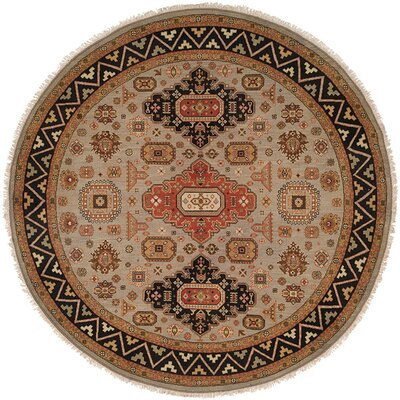 Eureka Hand-Woven Brown/Black Area Rug Rug Size: Round 8