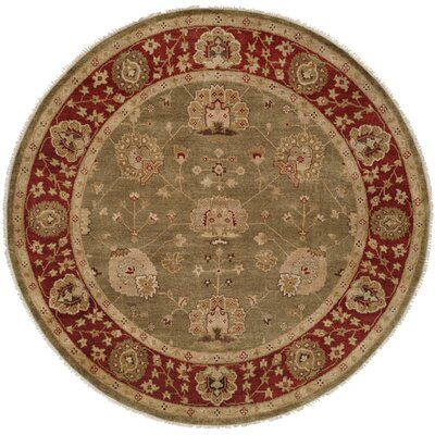 Davao Hand-Knotted Green/Red Area Rug Rug Size: Round 6