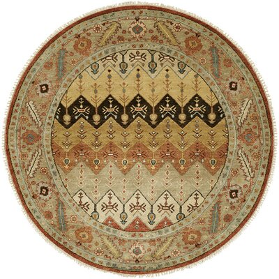 Eilat Hand-Knotted Brown/Gold Area Rug Rug Size: Round 6