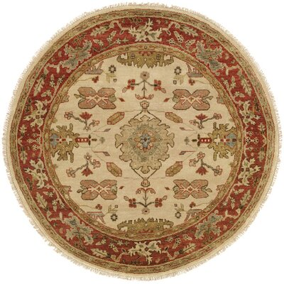 Hidd Hand-Knotted Ivory/Red Area Rug Rug Size: Round 10