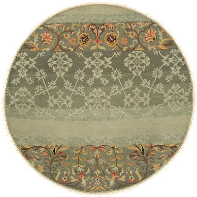 Jizan Hand-Woven Blue Area Rug Rug Size: Round 8