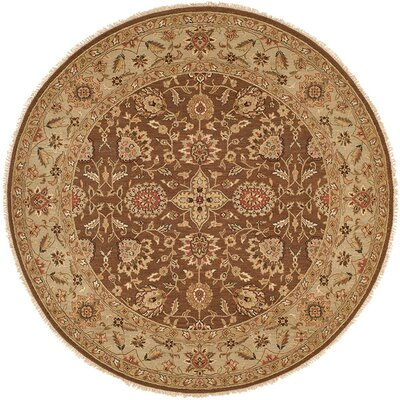 Talcahuano Hand-Woven Brown Area Rug Rug Size: Round 6