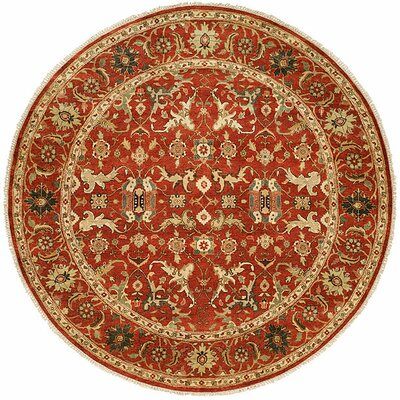 Hand-Knotted Rust Area Rug Rug Size: Round 10