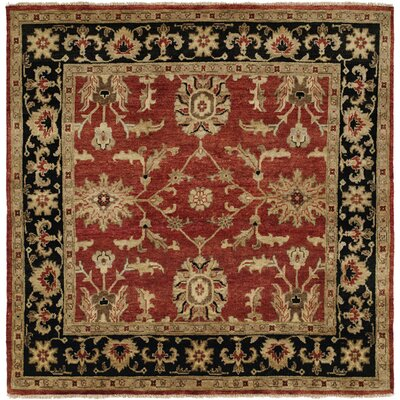 Chile Hand-Knotted Rust/Black Area Rug Rug Size: Square 6
