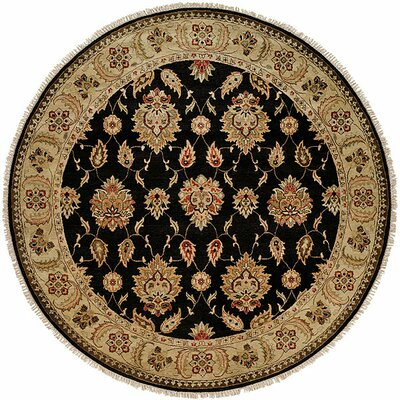 Legazpi Hand-Knotted Black/Gold Area Rug Rug Size: Round 8