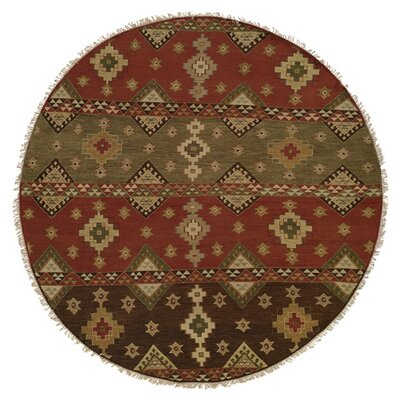 Jinzhou Hand-Woven Red/Brown Area Rug Rug Size: Round 6