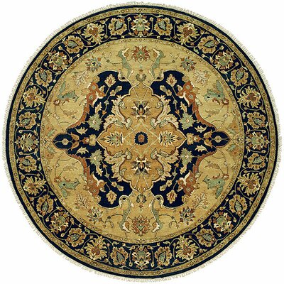 Hand-Knotted Yellow/Black Area Rug Rug Size: Round 6