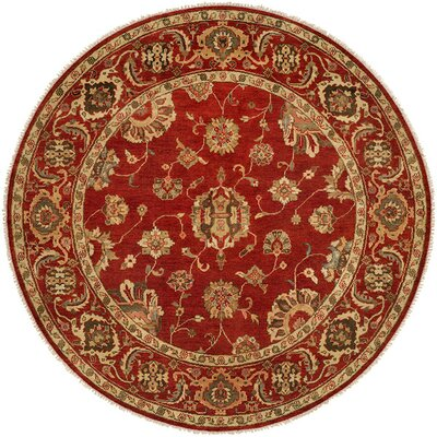 Ushuaia Hand-Knotted Red/Beige Area Rug Rug Size: Round 10