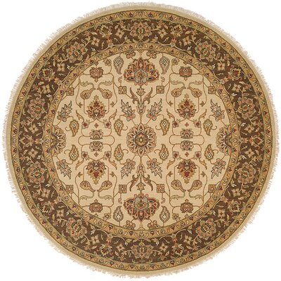 Townsville Hand-Woven Ivory/Brown Area Rug Rug Size: Round 8