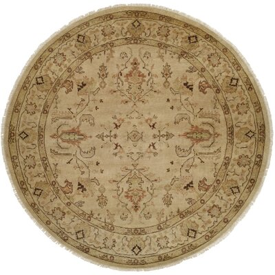 Puntarenas Hand-Knotted Beige Area Rug Rug Size: Round 8