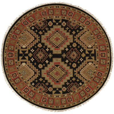 Montt Hand-Woven Black/Red Area Rug Rug Size: Round 6