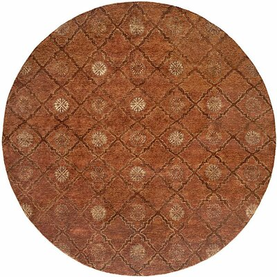 Chabang Hand-Knotted Rust Area Rug Rug Size: Round 6