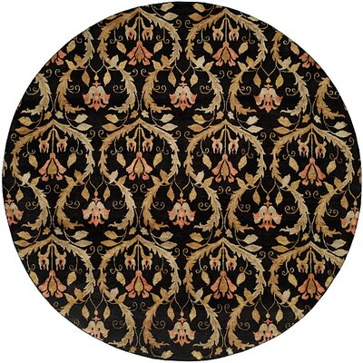 Kaohsiung Hand-Knotted Black/Gold Area Rug Rug Size: Round 8