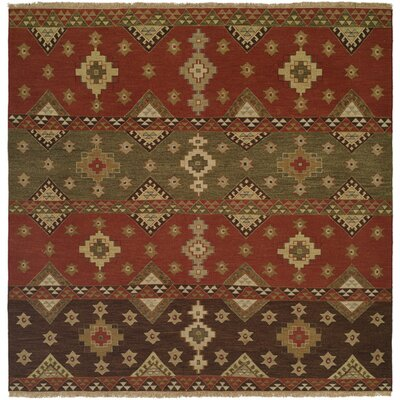 Jinzhou Hand-Woven Red/Brown Area Rug Rug Size: Square 8