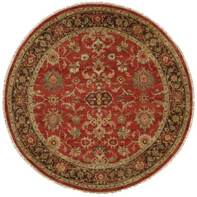 Vostochny Hand-Knotted Red/Brown Area Rug Rug Size: Square 10