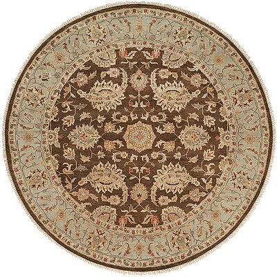 Shanghai Hand-Knotted Brown/Blue Area Rug Rug Size: Round 10