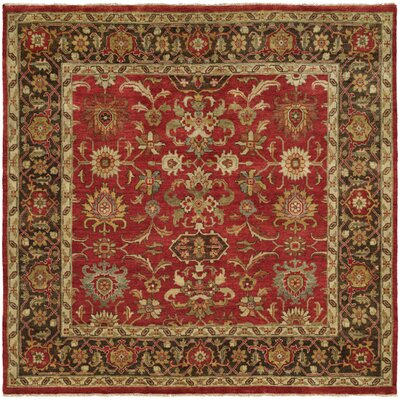 Vostochny Hand-Knotted Red/Brown Area Rug Rug Size: Round 10