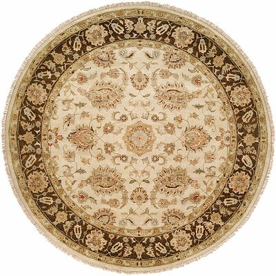 Ali Hand-Knotted Ivory/Brown Area Rug Rug Size: Round 6