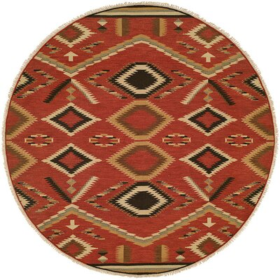 Coquimbo Hand-Woven Red Area Rug Rug Size: Round 8