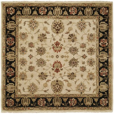 Vladivostok Hand-Knotted Ivory/Brown Area Rug Rug Size: Square 10