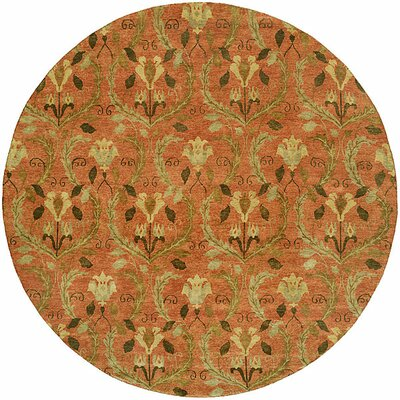 Keelung Hand-Knotted Rust Area Rug Rug Size: Round 8