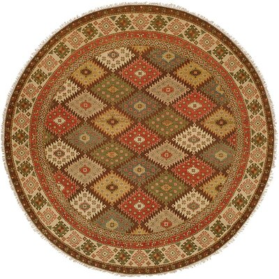 Qasr Hand-Woven Red/Brown Area Rug Rug Size: Round 6