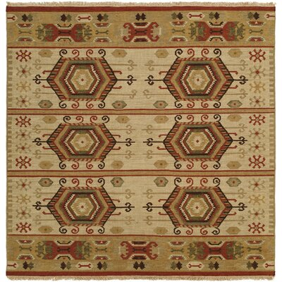 Qinhuangdao Hand-Woven Beige/Red Area Rug Rug Size: Square 10