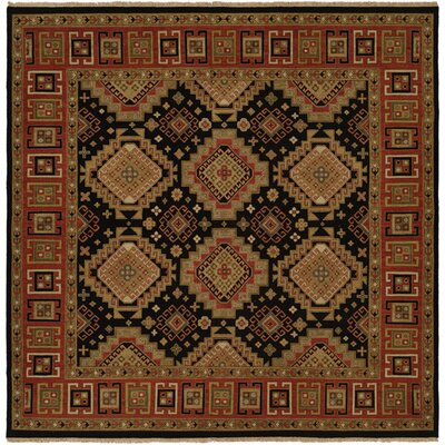 Montt Hand-Woven Black/Red Area Rug Rug Size: Square 8