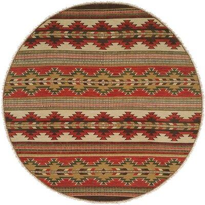 Hangu Red/Beige Area Rug Rug Size: Round 8